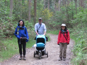 Couple who met on Camino four years earlier with their baby and friend