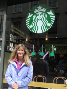 Laurie and one of the many Dublin area Starbucks