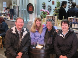 Port Wine tasting at the Farmers Market (Fred, Laurie, Dennis, Trish)