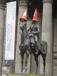 Duke of Wellington statue, complete with traffic cone head